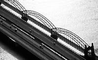 Elbbruecke: EUROPA, DEUTSCHLAND, HAMBURG, (EUROPE, GERMANY), 24.02.2009: Elbbruecke,  Bruecke des 17. Juni, Alte Harburger Elbbruecke, Europa, Deutschland, Hamburg, Reise, Tourismus, Urlaub, Elbe, Elbbruecke,  Verkehrsweg, Verkehrsader, Strassenbruecke, Stahlbruecke,  Abendlicht,  Luftbild, Luftaufnahme, Bruecke, Bruecken, Abend, Abends, Wasser, Verkehr, Suederelbbruecke, Fluss, Fluesse, schwarz weiss.c o p y r i g h t : A U F W I N D - L U F T B I L D E R . de.G e r t r u d - B a e u m e r - S t i e g 1 0 2, .2 1 0 3 5 H a m b u r g , G e r m a n y.P h o n e + 4 9 (0) 1 7 1 - 6 8 6 6 0 6 9 .E m a i l H w e i 1 @ a o l . c o m.w w w . a u f w i n d - l u f t b i l d e r . d e.K o n t o : P o s t b a n k H a m b u r g .B l z : 2 0 0 1 0 0 2 0 .K o n t o : 5 8 3 6 5 7 2 0 9.