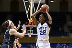 03 December 2015: Duke's Oderah Chidom (22) and Minnesota's Rachel Banham (left). The Duke University Blue Devils hosted the University of Minnesota Golden Gophers at Cameron Indoor Stadium in Durham, North Carolina in a 2015-16 NCAA Division I Women's Basketball game. Duke won the game 84-64.
