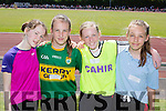 Kenmare runners Aoife O'Reilly Cahir NS, Eve Roberts-White St Johns, Alice Kallawaard Cahir NS and Grace Roberts-White St Johns at the County Primary schools athletics championships in An Riocht Castleisland on Saturday