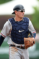 Mississippi Braves catcher Braeden Schlehuber (11) during a game against the Montgomery Biscuits on April 22, 2014 at Riverwalk Stadium in Montgomery, Alabama.  Mississippi defeated Montgomery 6-2.  (Mike Janes/Four Seam Images)