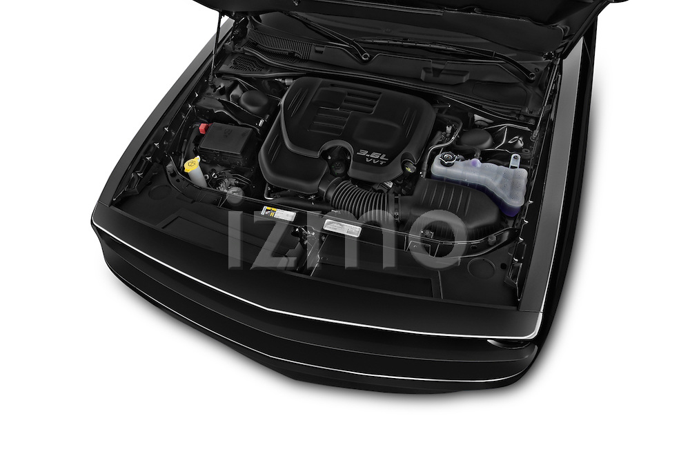 Car Stock 2015 Dodge Challenger SXT 2 Door Coupe Engine high angle detail view