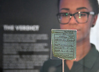 Nelson Mandela's awaiting trial card showing his fingerprints, at Nelson Mandela The Official Exhibition celebrating the life and legacy of Nelson Mandela, the anti-apartheid revolutionary and former President of South Africa, showcasing personal belongings and objects.  Nelson Mandela The Official Exhibition press view, London, UK - 7 February 2019.<br /> CAP/JOR<br /> &copy;JOR/Capital Pictures