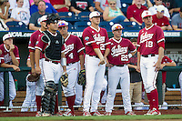 Indiana Hoosiers (L to R) catcher Kyle Schwarber (10), Chris Sujka (4), Walker Stadler (25), Chad Clark (29), and Trace Knoblauch (18) before Game 9 of the 2013 Men's College World Series against the Oregon State Beavers on June 19, 2013 at TD Ameritrade Park in Omaha, Nebraska. The Beavers defeated the Hoosiers 1-0, eliminating Indiana from the tournament. (Andrew Woolley/Four Seam Images)