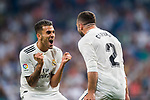 Daniel Carvajal Ramos of Real Madrid celebrates with teammate Daniel Ceballos Fernandez, Dani Ceballos during the La Liga 2018-19 match between Real Madrid and Getafe CF at Estadio Santiago Bernabeu on August 19 2018 in Madrid, Spain. Photo by Diego Souto / Power Sport Images
