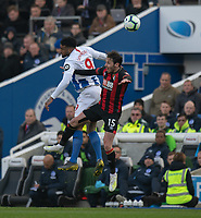Bournemouth's Adam Smith (right) battles with Brighton & Hove Albion's Jurgen Locadia (left) <br /> <br /> Photographer David Horton/CameraSport<br /> <br /> The Premier League - Brighton and Hove Albion v Bournemouth - Saturday 13th April 2019 - The Amex Stadium - Brighton<br /> <br /> World Copyright © 2019 CameraSport. All rights reserved. 43 Linden Ave. Countesthorpe. Leicester. England. LE8 5PG - Tel: +44 (0) 116 277 4147 - admin@camerasport.com - www.camerasport.com