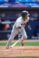 Brevard County Manatees left fielder Omar Garcia (21) at bat during a game against the St. Lucie Mets on April 17, 2016 at Tradition Field in Port St. Lucie, Florida.  Brevard County defeated St. Lucie 13-0.  (Mike Janes/Four Seam Images)