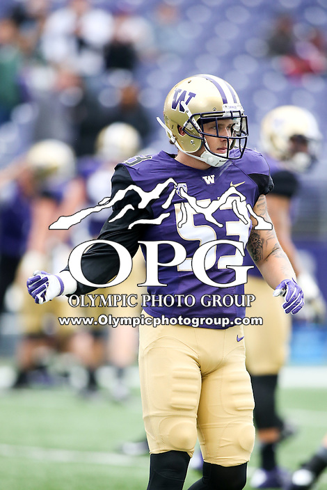 03 September 2016:  Washington's Jake Wambaugh against Rutgers.  Washington defeated Rutgers 48-13 at the University of Washington in Seattle, WA.  Jesse Beals / www.Olympicphotogroup.com