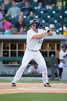 Rob Brantly (20) of the Charlotte Knights at bat against the Rochester Red Wings at BB&T BallPark on August 8, 2015 in Charlotte, North Carolina.  The Red Wings defeated the Knights 3-0.  (Brian Westerholt/Four Seam Images)