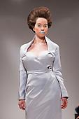 LONDON, ENGLAND - London Fashion Week, Actress Anna Popplewell modelling dress for Elliott J. Frieze, S/S 2011 collection by designer Elliott J. Frieze
