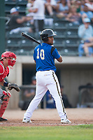 Missoula Osprey second baseman Eddie Hernandez (10) at bat in front of catcher Griffin Barnes (28) during a Pioneer League game against the Orem Owlz at Ogren Park Allegiance Field on August 19, 2018 in Missoula, Montana. The Missoula Osprey defeated the Orem Owlz by a score of 8-0. (Zachary Lucy/Four Seam Images)