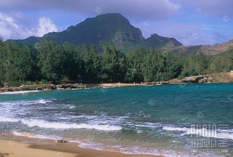 Ha'upu Ridge (a.k.a Ha'upu Mountain Range) viewed from the last accessible beach along the south shore of Kaua'i.