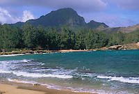 Ha'upu Ridge (a.k.a Ha'upu Mountain Range) viewed from the last accessible beach along the south shore of Kaua'i.