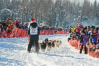 Veteran Iditarod musher Hugh Neff leaves the gate at the Restart of Iditarod 2012, Willow, Alaska, March 4, 2012