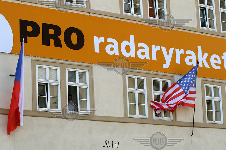 A pro-American banner in support of the possible building of a US missile defence radar base in the Czech Republic. The banner hangs near Czech and American flags outside the Czernin Palace (now the seat of the Ministry of Foreign Affairs).