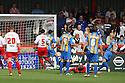 Paul Parry of Shrewsbury scores the opening goal.  Stevenage v Shrewsbury Town - npower League 1 -  Lamex Stadium, Stevenage - 1st September, 2012. © Kevin Coleman 2012.