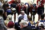 13 November 2016: Penn head coach Mike McLaughlin talks to his team during a timeout. The Duke University Blue Devils hosted the University of Pennsylvania Quakers at Cameron Indoor Stadium in Durham, North Carolina in a 2016-17 NCAA Division I Women's Basketball game. Duke defeated Penn 68-55.