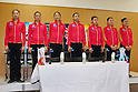 (L to R) Rina Miura, Natsuki Fukase, Airi Hatakeyama, Nina Saeed Yokota, Rie Matsubara, Yuka Endo, Kotono Tanaka, .February 28, 2012 - Rhythmic Gymnastics : .Sebastian Coe LOCOG Chairman inspected NTC .at National Training Center, Tokyo, Japan. .(Photo by Daiju Kitamura/AFLO SPORT) [1045]