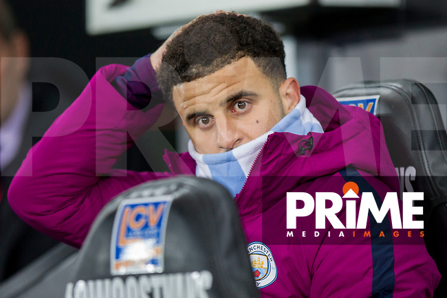 Kyle Walker of Manchester City on the bench ahead of the EPL - Premier League match between Swansea City and Manchester City at the Liberty Stadium, Swansea, Wales on 13 December 2017. Photo by Mark  Hawkins / PRiME Media Images.