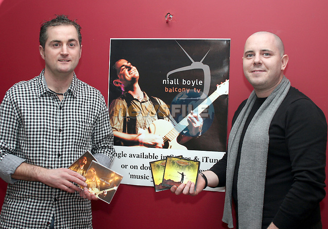 Niall Boyle with Andrew Healy at the launch of Niall's Album in Bru...Photo NEWSFILE/Jenny Matthews.(Photo credit should read Jenny Matthews/NEWSFILE)....This Picture has been sent you under the condtions enclosed by:.Newsfile Ltd..The Studio,.Millmount Abbey,.Drogheda,.Co Meath..Ireland..Tel: +353(0)41-9871240.Fax: +353(0)41-9871260.GSM: +353(0)86-2500958.email: pictures@newsfile.ie.www.newsfile.ie.FTP: 193.120.102.198.