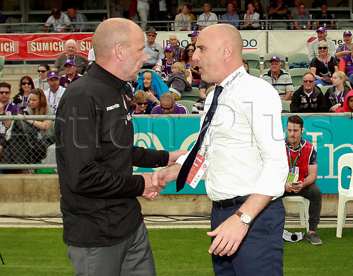 25th March 2018, nib Stadium, Perth, Australia; A League football, Perth Glory versus Melbourne Victory; Kenny Lowe coach of Perth Glory greets Kevin Muscat coach of Melbourne Victory before the start of the game
