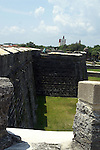 Looking from the San Pablo Bastion to the San Pedro Bastion.   Modern day St. Augsutine is visible in the background.   The Castillo de San Marcos located in St. Augustine, Florida is the oldest masonary fort in the country.