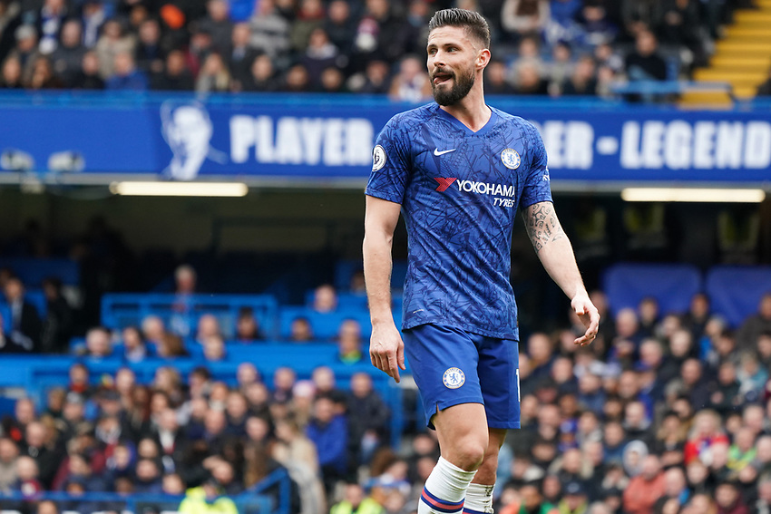 Chelsea's Olivier Giroud<br /> <br /> Photographer Stephanie Meek/CameraSport<br /> <br /> The Premier League - Chelsea v Everton - Sunday 8th March 2020 - Stamford Bridge - London<br /> <br /> World Copyright © 2020 CameraSport. All rights reserved. 43 Linden Ave. Countesthorpe. Leicester. England. LE8 5PG - Tel: +44 (0) 116 277 4147 - admin@camerasport.com - www.camerasport.com