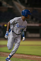 AZL Royals shortstop Maikel Garcia (4) hustles down the first base line during an Arizona League game against the AZL Giants Black at Scottsdale Stadium on August 7, 2018 in Scottsdale, Arizona. The AZL Giants Black defeated the AZL Royals by a score of 2-1. (Zachary Lucy/Four Seam Images)