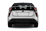 Straight rear view of 2016 Toyota Prius Three Touring 5 Door Hatchback stock images