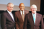 (L-R) Jeremy Travis, Harry Belafonte, and Len Cariou, on stage at the John Jay Justice Award ceremony, April 5 2011.