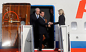 Russian President Dmitri Medvedev arrives with his delegation April 12, 2010 at Andrews Air Force Base in Maryland. Leaders from around the world including nuclear powers are meeting in Washington this week for a two-day nuclear security summit. .Credit: Olivier Douliery / Pool via CNP