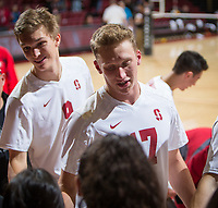 STANFORD, CA - January 5, 2019: Eli Wopat, Stephen Moye at Maples Pavilion. The Stanford Cardinal defeated UC Santa Cruz 25-11, 25-17, 25-15.