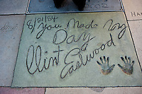 Grauman's, Chinese, Theatre,  Clint Eastwood,  Movie Star, Hand - Footprint, Impressions, Hollywood,  CA