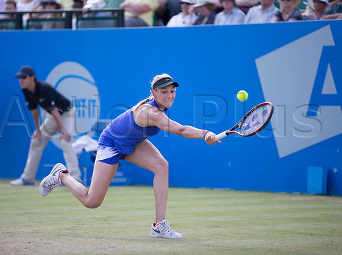 June 18th 2017, Nottingham, England; WTA Aegon Nottingham Open Tennis Tournament day 7 finals day;  Donna Vekic of Croatia reaches for a backhand in the match with Johanna Konta of Great Britain