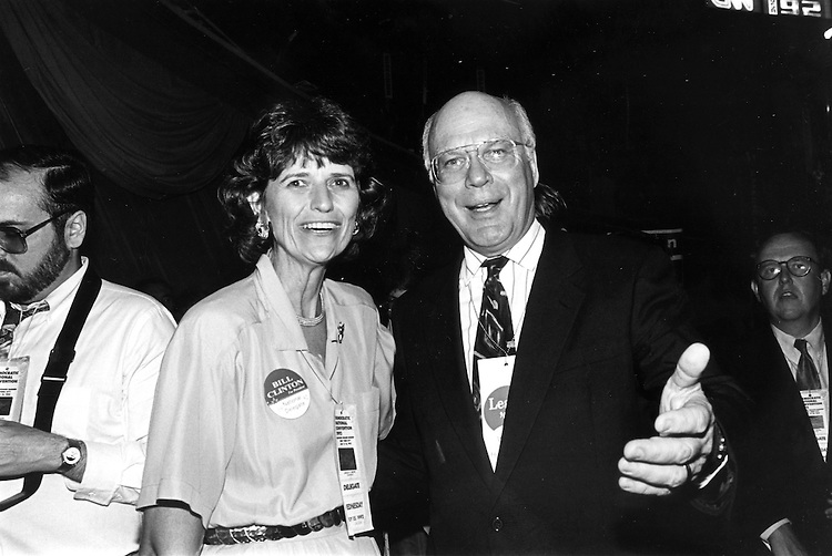 Liz Patterson and Patrick Leahy at the 1992 Democratic National Convention.