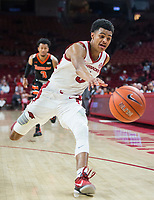 NWA Democrat-Gazette/BEN GOFF @NWABENGOFF <br /> Jalen Harris of Arkansas runs to save the ball in the secon half vs Tusculum Friday, Oct. 26, 2018, during an exhibition game in Bud Walton Arena in Fayetteville.