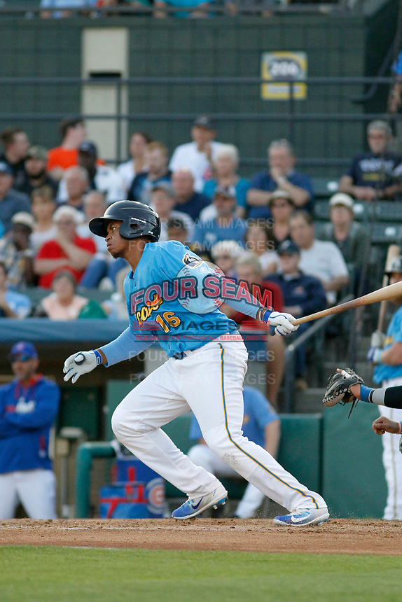 Myrtle Beach Pelicans infielder Adonis Paula (16) at bat during a game against the Wilmington Blue Rocks at Ticketreturn Field at Pelicans Ballpark on April 26, 2017 in Myrtle Beach, South Carolina. Myrtle Beach defeated Wilmington 7-3. (Robert Gurganus/Four Seam Images)
