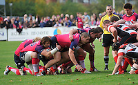 Bedford, England. Bedford Blues prepare to scrum during the British & Irish Cup 2nd Round Bedford Blues vs Stirling County at Goldington Road Bedford, England on October 20, 2012