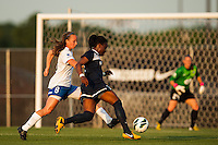 Sky Blue FC forward Danesha Adams (9) is marked by Boston Breakers defender Julie King (8). Sky Blue FC defeated the Boston Breakers 5-1 during a National Women's Soccer League (NWSL) match at Yurcak Field in Piscataway, NJ, on June 1, 2013.