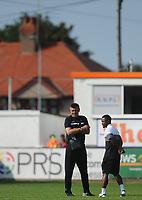 Partizan Belgrade's Manager Savo Milosevic with Seydouba Soumah before the match<br /> <br /> Photographer Kevin Barnes/CameraSport<br /> <br /> UEFA Europa League 2nd Qualifying Round 1st Leg - Connah's Quay Nomads v Partizan Belgrade - Thursday July 25th 2019 - Belle Vue Stadium - Rhyl<br />  <br /> World Copyright © 2019 CameraSport. All rights reserved. 43 Linden Ave. Countesthorpe. Leicester. England. LE8 5PG - Tel: +44 (0) 116 277 4147 - admin@camerasport.com - www.camerasport.com