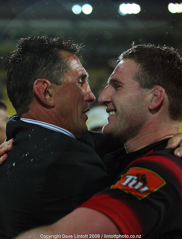 Canterbury coach Rob Penney hugs captain Kieron Read after the win during the Air NZ Cup Final between Wellington and Canterbury at Westpac Stadium, Wellington, New Zealand on Saturday 25th October 2008.  Photo: Dave Lintott / lintottphoto.co.nz