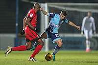 Nigel Atangana of Leyton Orient (15) and Dominic Gape of Wycombe Wanderers  during the Sky Bet League 2 match between Wycombe Wanderers and Leyton Orient at Adams Park, High Wycombe, England on 17 December 2016. Photo by David Horn / PRiME Media Images.
