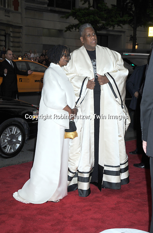 Whoopi Goldberg and Andre Leon Talley arriving at The Costume Institute Gala Benefit celebrating American Woman: Fashioning a National Identity at The Metropolitan Museum of Art on May 3, 2010 in New York City.
