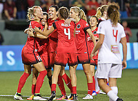 Portland, OR - Sunday Sept. 11, 2016: Dagny Brynjarsdottir celebrates scoring during a regular season National Women's Soccer League (NWSL) match between the Portland Thorns FC and the Western New York Flash at Providence Park.