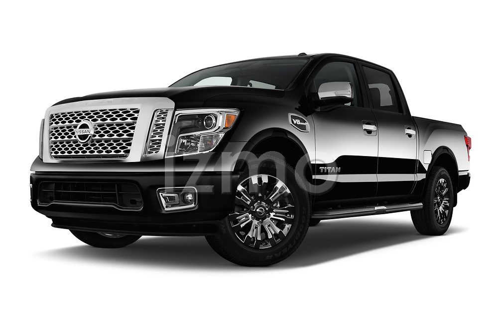 Stock pictures of low aggressive front three quarter view of 2017 Nissan Titan Platinum-Reserve-Crew 4 Door Pickup Low Aggressive