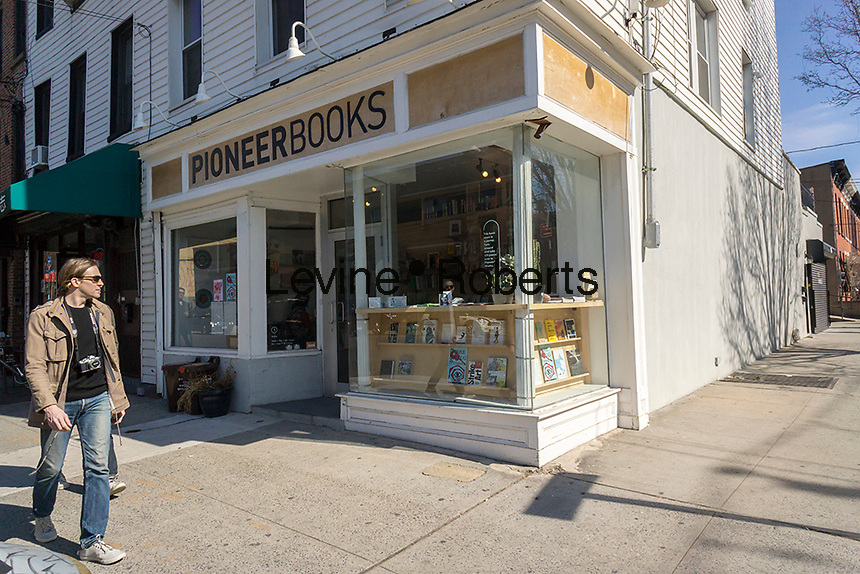Independent bookseller Pioneer Books in the Red Hook neighborhood of Brooklyn in New York on Saturday, March 12, 2016.  (© Richard B. Levine)