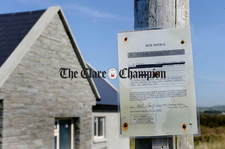 The planning notice near the building at the centre of a planning dispute at Annagh. Photograph by John Kelly.