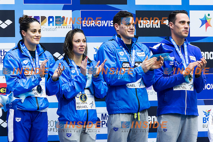 Team ITALY gold medal<br /> Mixed 50m medley final<br /> Netanya, Israel, Wingate Institute<br /> LEN European Short Course Swimming Championships  Dec. 2 - 6, 2015 Day02 Dec. 3nd<br /> Nuoto Campionati Europei di nuoto in vasca corta<br /> Photo Insidefoto