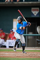 Akron RubberDucks left fielder Ka'ai Tom (4) at bat during a game against the Harrisburg Senators on August 18, 2018 at FNB Field in Harrisburg, Pennsylvania.  Akron defeated Harrisburg 5-1.  (Mike Janes/Four Seam Images)