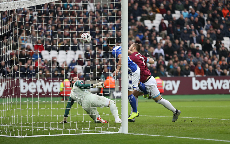 West Ham United's Marko Arnautovic scores his side's first goal  <br /> <br /> Photographer Rob Newell/CameraSport<br /> <br /> Emirates FA Cup Third Round - West Ham United v Birmingham City - Saturday 5th January 2019 - London Stadium - London<br />  <br /> World Copyright &copy; 2019 CameraSport. All rights reserved. 43 Linden Ave. Countesthorpe. Leicester. England. LE8 5PG - Tel: +44 (0) 116 277 4147 - admin@camerasport.com - www.camerasport.com