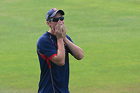Alastair Cook of Essex reacts to a missed shot in football practice during Essex CCC vs Warwickshire CCC, Specsavers County Championship Division 1 Cricket at The Cloudfm County Ground on 20th June 2017